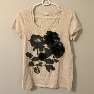 new // J. Crew | Beige Floral Cotton Tee
